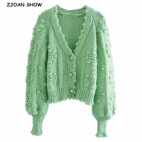 2020 Vintage Korea Style Knitting Ball Cardigan Women Diamond Single-breasted Bu