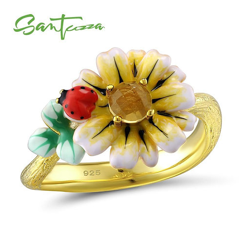 SANTUZZA Silver Ring For Women 925 Sterling Silver Delicate Yellow Sunflower Cub