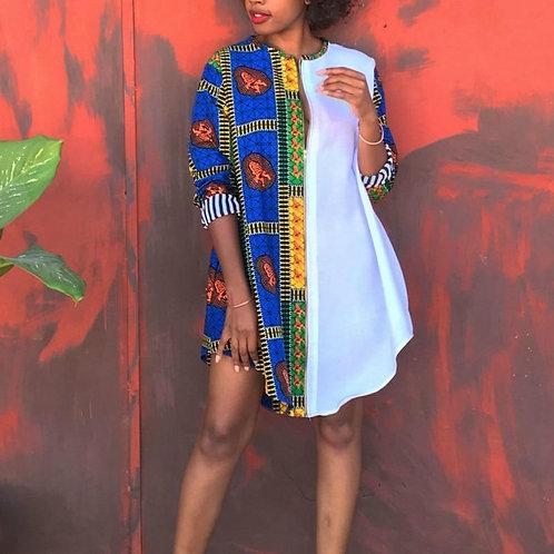 Women Shirt Dress Print White Patchwork Loose Half Sleeve O Neck Mini African Fe