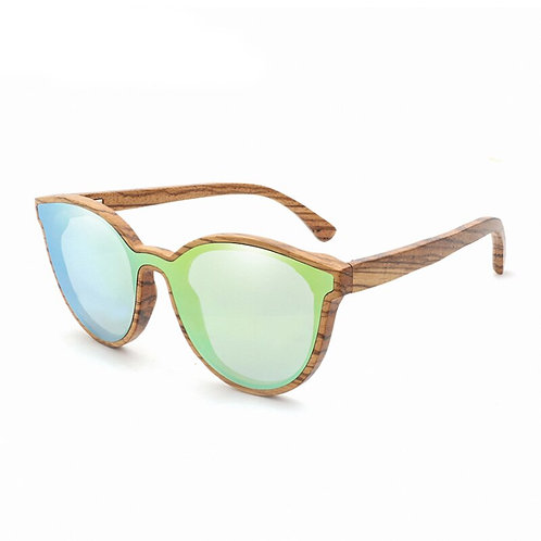 Wood Sunglasses Women/Men Round Bamboo SunGlasses Zebra Wooden Frame