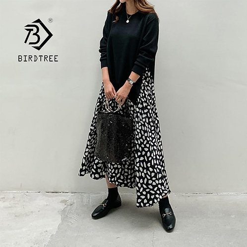 2020 Autumn Women Plus Size XL-5XL Ladies Long Sleeve T-Shirt Dress Patchwork Pr
