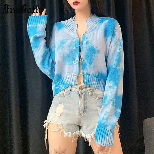 InsGoth Women Vintage Tie Dye Blue Sweater Harajuku Casual Long Sleeve Knitted S