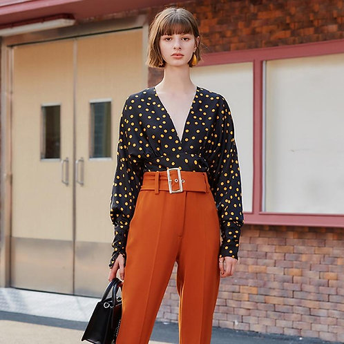 AEL Sexy Fashion Woman black Blouses 2020 Long Sleeve Tunic Elegant Dot Shirt Ca