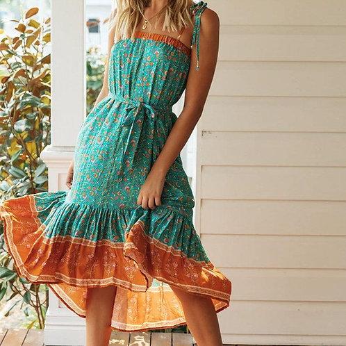 Aproms Boho Sweet Floral Print Summer Midi Dress Women Chic Bow Tie Up Shoulder