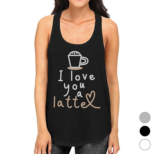 Love a Latte Womens Funny Graphic Workout Gym Tank Top Racerback