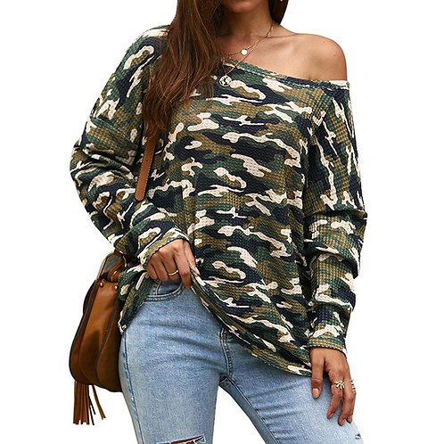 2019 Women Camouflage Printted T-Shirt Autumn Sexy Cold Shoulder Long Sleeve T-S