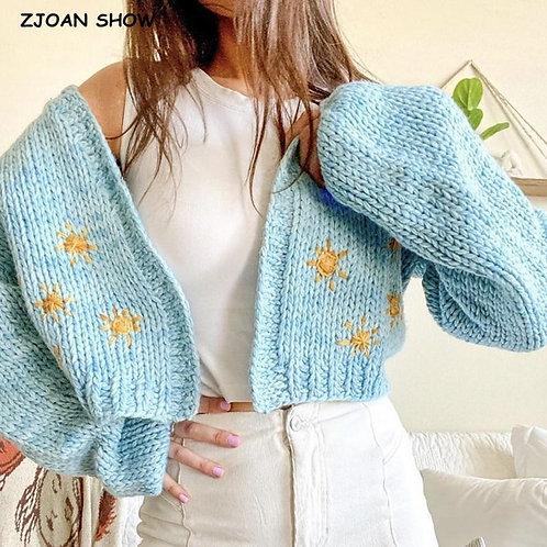 2020 Autumn Winter Stylish No Button Hand Crochet Cardigan Vintage Cropped Sweat