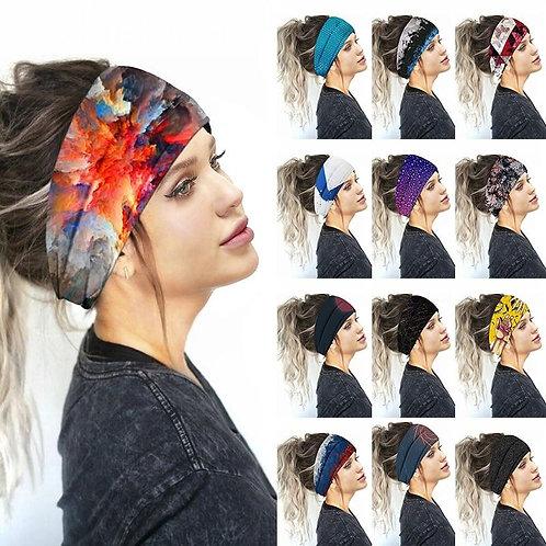 2020 New Boho Printed Sports Headbands Women Wide Turban Girls Hair Head Bands W