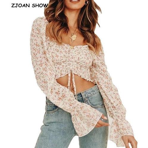 2020 Elegant Off Shoulder Chiffon Tank Tops Women Lantern Sleeve Crop Top Sexy S