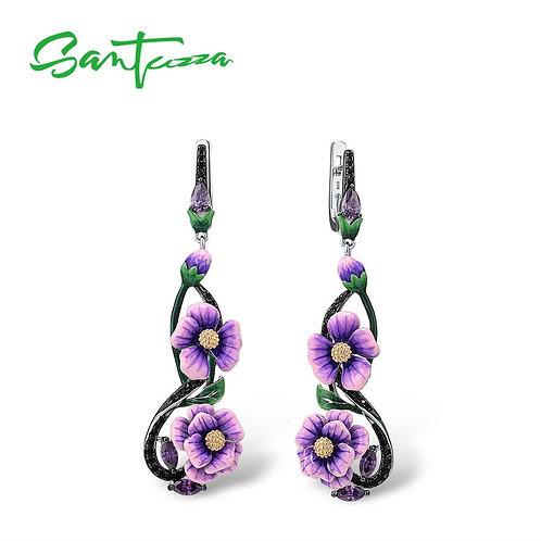 SANTUZZA Silver Earrings For Women Pure 925 Sterling Silver Purple Flowers Drop