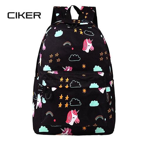 2020 CIKER New Black Unicorn Print Backpack Large Capacity Waterproof Student La