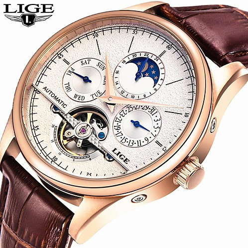 Relojes Hombre LIGE Casual Leather Business Mens Watches Top Brand Luxury Tourbi