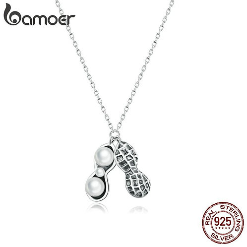 bamoer 925 Sterling Silver Clear CZ Lucky Peanuts Pendant silver Necklace for Wo