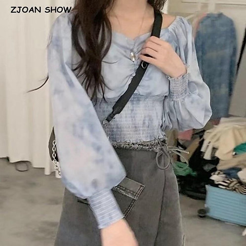 2020 Autumn French Pleated Ruched Elastic Gradient Tie dye Shirt Women Sexy Long