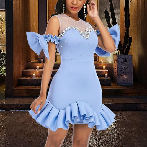 Women Party Dress Ruffles Mesh Patchwork Bead Sexy with Bowtie Lovely Christmas