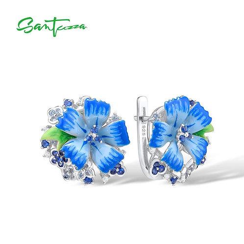 SANTUZZA Silver Earrings For Women Pure 925 Sterling Silver Blue Flower Trendy G
