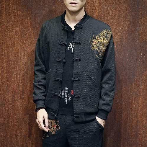 2020 Chinese Style High Quality Dragon Embroidery Bomber Jacket Men Black Hip Ho