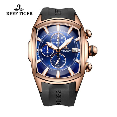 2020 Reef Tiger/RT Top Brand Luxury Sport Watch Men Rose Gold Blue Dial Professi