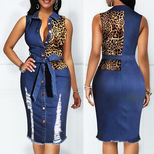 Leopard Patchwork Denim Midi Dress Women Sleeveless Turn Down Collar Office Lady
