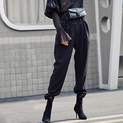 AEL Cargo Pants Women Casual Black High Waist Loose Female Trousers Gothic Style