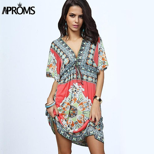Boho Summer Women Dress Sexy Loose Sundresses Deep V Neck Dashiki Print Tunic Be