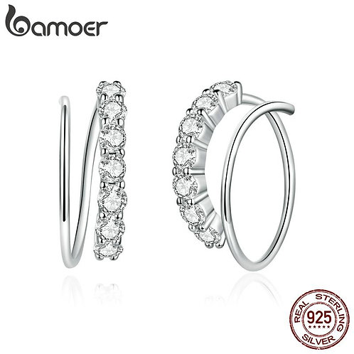 bamoer Authentic 925 Sterling Silver Simple Geometry CZ Stud Earrings for Women