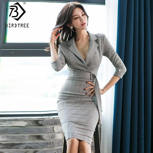 2019 Winter New Women's Korean Style OL Plaid Dresses With Belt Notched Slim Hig