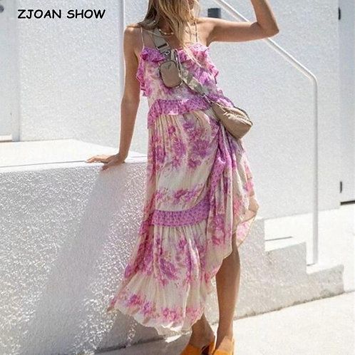 2020 Summer Ruffles Leaves Striped Print Spaghetti Strap Dress Holiday Woman Lac