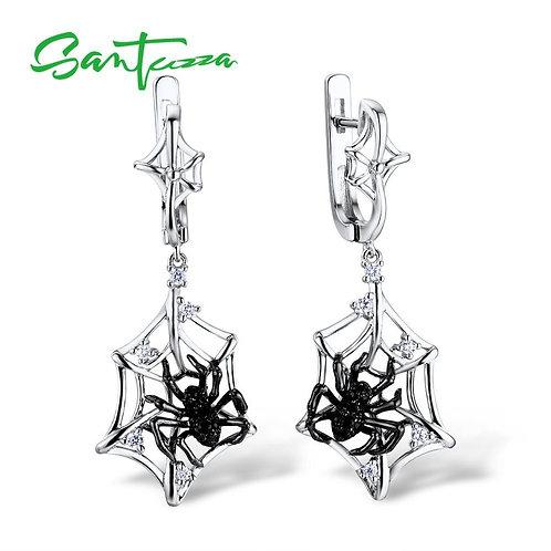 SANTUZZA Silver Earrings For Women 925 Sterling Silver Spider Dangle Earrings Sp