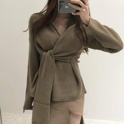 Women 2020 Autumn Winter V-neck Solid Color Sweater Women Chic Crooss Lace Up Pu