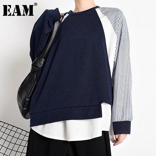 [EAM] Loose Dark Blue Striped Irregular Sweatshirt New Round Neck Long Sleeve Wo