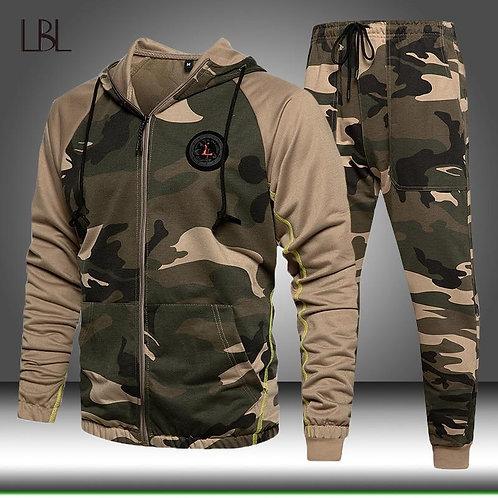 2 Pieces Sets Tracksuit Men Hooded Sweatshirt+pants Pullover Hoodie Sportwear Su