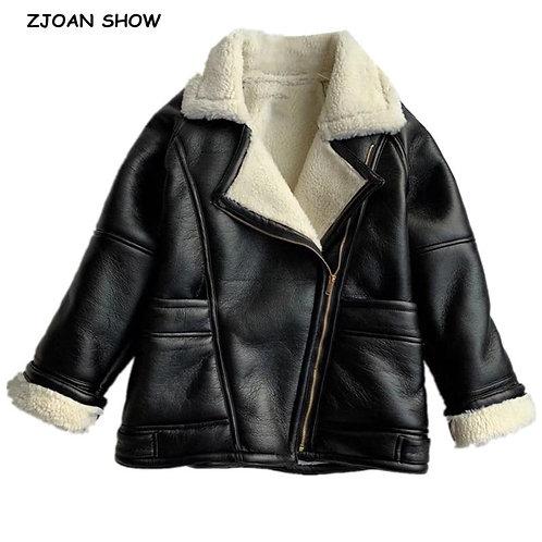 2020 Winter Women Furry Lapel Double Faced Fur PU Jacket Streetwear Raglan Sleev