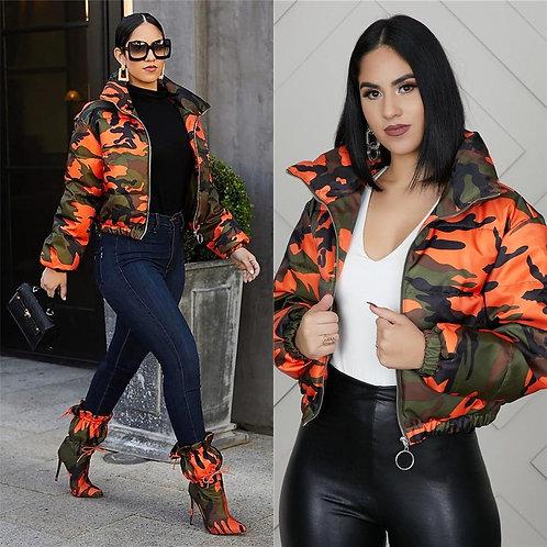 2020 Winter Women Short Parkas High Collar Full Sleeve Zipper Camouflage Print C