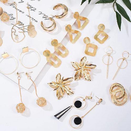 2020 Fashion Large Statement Drop Earrings Geometric Gold Metal Jewelry Women Bi