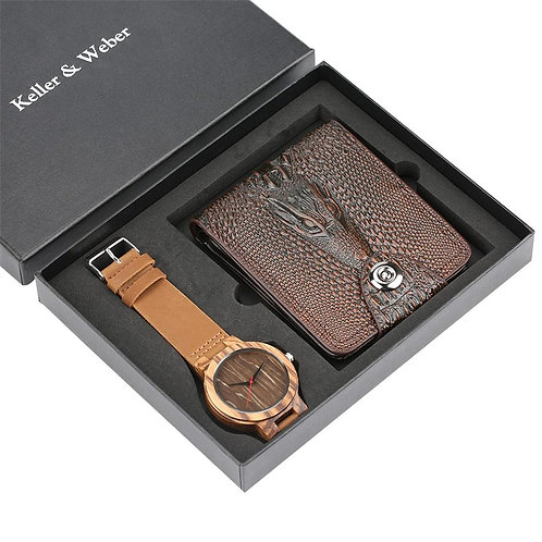 Luxury Men's Wood Watch Wallet Set Quartz Genuine Leather Band Wooden Watches Fa