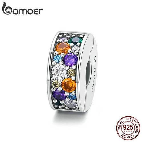 bamoer Sterling Silver 925 Colorful Garden CZ Beads for Women Jewelry Making Cha