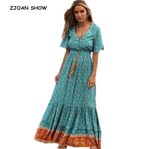 2019 Summer New Bohemian Spliced Lace Floral Print Women Dress Holiday Lacing Up