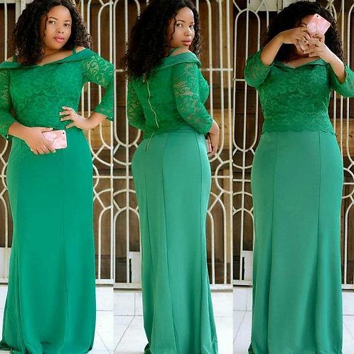 Women Maxi Long Dresses Cold Shoulder Patchwork Lace Party Celebraty Fashion Chr