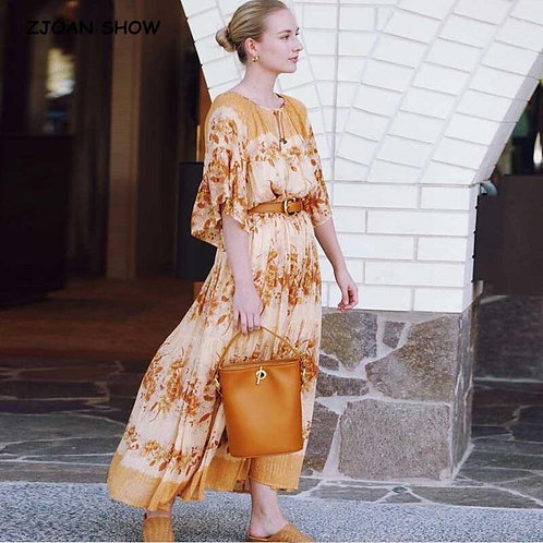 2020 Bohemia Women V neck Orange Floral Print Flare Sleeve Dress Holiday Bell Ta