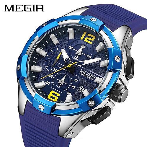 MEGIR 2020 Men's Watches Top Brand Luxury Blue Sport Watches Man Chronograph Mil