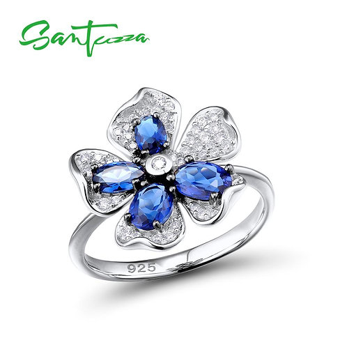 SANTUZZA Silver Ring For Woman Charming Blue Flower Ring AAA Cubic Zirconia Ring