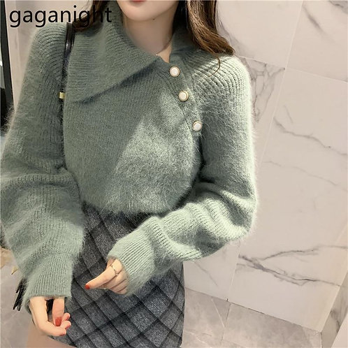 Gaganight Vintage Women Mohair Sweater Autumn Winter Fashion Solid Pullovers Chi