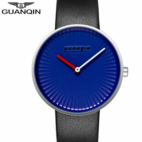 GUANQIN Simple Watches Men Blue Watch Black Leather Strap Quartz Wristatches Wat