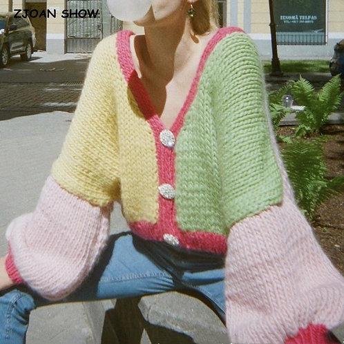 2020 Retro Contrast Color Hand Crochet Cardigan Sweater Vintage Woman Buttons Lo