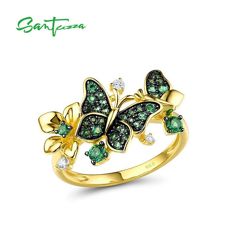 SANTUZZA Silver Ring For Women 925 Sterling Silver Butterfly  Gold Color Shiny G