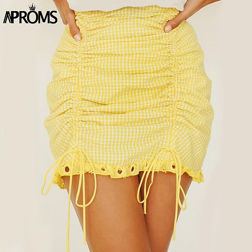 Aproms Elegant Yellow Lace Trim Mini Skirt Women Summer High Waist Back Zipper R