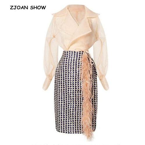 2 pieces Set Women 1 Set Notched Semi Sheer Bow Tide Wrap Shirt + High Waist Fau