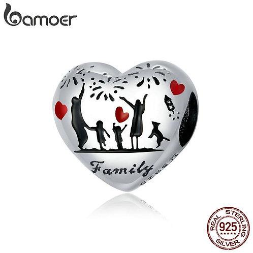 bamoer Real 925 Sterling Silver Thanksgiving Family Charm for Bracelet Bangle DI