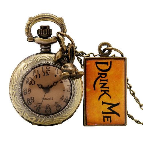 Alice In Wonderland Theme Drink Tag Rabbit Pendant Quartz Pocket Watch with Bron